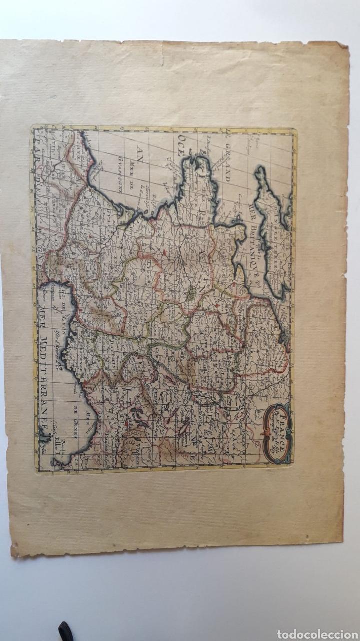 ANTIGUO GRABADO ILUMINADO DEL MAPA DE FRANCIA Y REGIONES. SIGLO XVII XVIII ?. (Arte - Cartografía Antigua (hasta S. XIX))