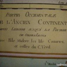 Arte: MAPA CANARIAS COSTA OCCIDENTAL ÁFRICA, ORIGINAL, BONNE / RAYNAL, GINEBRA 1781, EXCEPCIONAL COLOREADO. Lote 212394360