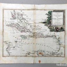 Arte: MAPA ANTIGUO SIGLO XVIII ISOLE ANTILLE CUBA JAMAICA PUERTO RICO ESPAÑOLA CARIBE FLORIDA 1785 ZATTA. Lote 212531300