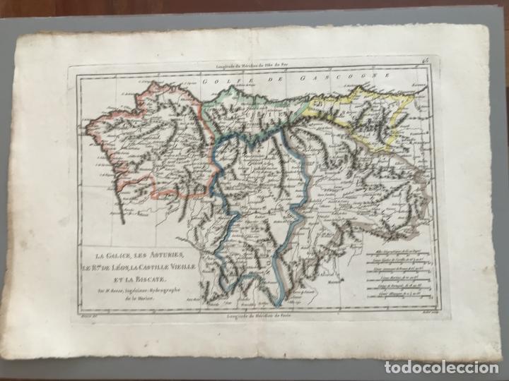 Arte: Mapa de Galicia, Asturias, León, Cantabria, País Vasco,.. (España), 1787. Bonne/Herisson/André - Foto 2 - 213306330
