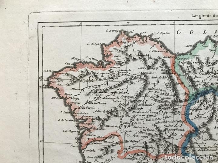 Arte: Mapa de Galicia, Asturias, León, Cantabria, País Vasco,.. (España), 1787. Bonne/Herisson/André - Foto 3 - 213306330