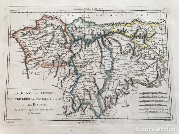 Arte: Mapa de Galicia, Asturias, León, Cantabria, País Vasco,.. (España), 1787. Bonne/Herisson/André - Foto 10 - 213306330
