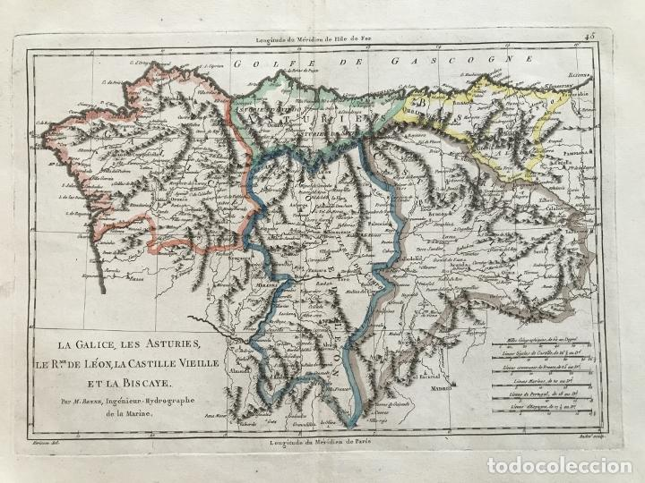MAPA DE GALICIA, ASTURIAS, LEÓN, CANTABRIA, PAÍS VASCO,.. (ESPAÑA), 1787. BONNE/HERISSON/ANDRÉ (Arte - Cartografía Antigua (hasta S. XIX))