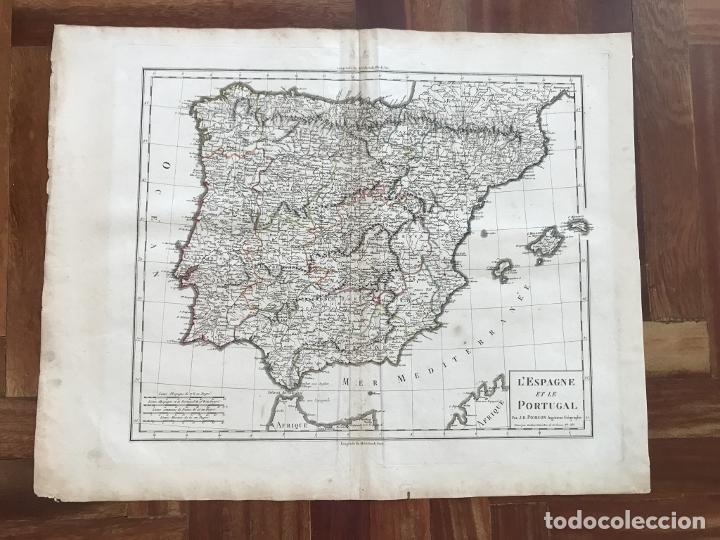 Arte: Mapa de España y Portugal, 1804. Poirson/Tardieu/Mentelle/Malte Brun - Foto 2 - 213308533