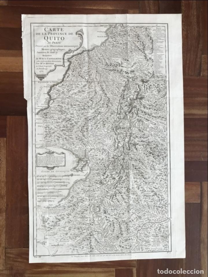 Arte: Mapa de la antigua provincia de Quito o Perú (Ámerica del sur), ca. 1746. Anville/Prevost - Foto 2 - 213310325
