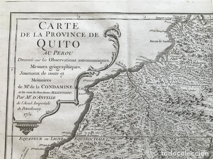 Arte: Mapa de la antigua provincia de Quito o Perú (Ámerica del sur), ca. 1746. Anville/Prevost - Foto 3 - 213310325