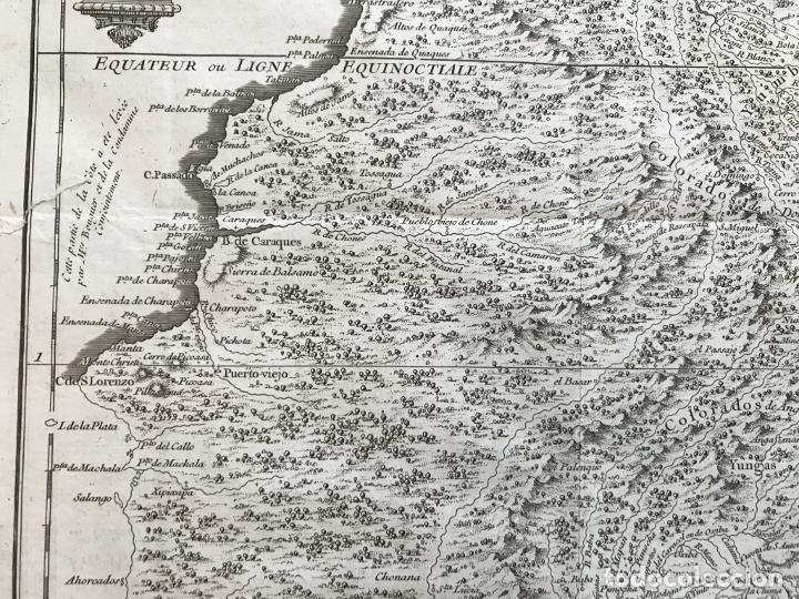 Arte: Mapa de la antigua provincia de Quito o Perú (Ámerica del sur), ca. 1746. Anville/Prevost - Foto 5 - 213310325