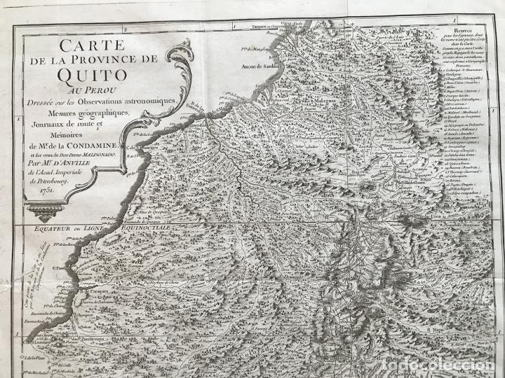 Arte: Mapa de la antigua provincia de Quito o Perú (Ámerica del sur), ca. 1746. Anville/Prevost - Foto 13 - 213310325
