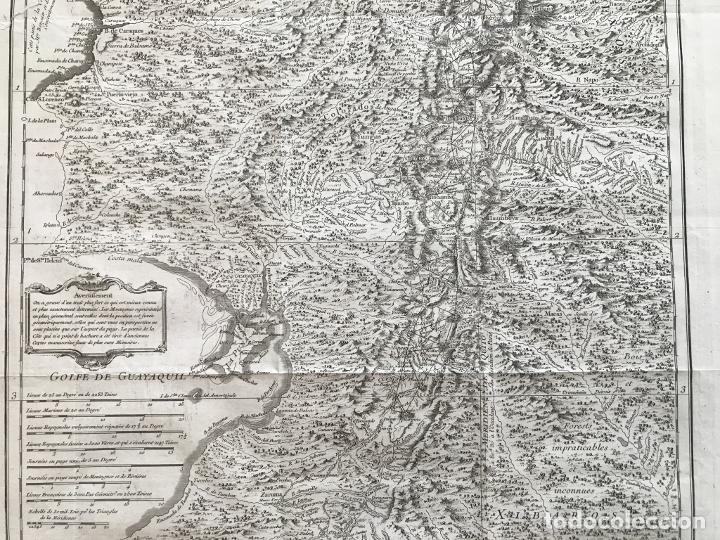 Arte: Mapa de la antigua provincia de Quito o Perú (Ámerica del sur), ca. 1746. Anville/Prevost - Foto 14 - 213310325