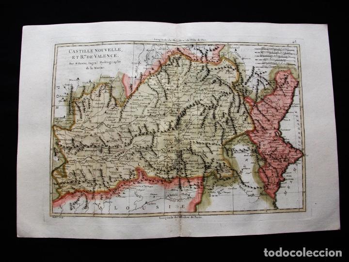 Arte: Mapa de Castilla, Madrid, Valencia, Alicante, 1787. Bonne/Desmarest/André - Foto 4 - 213323180
