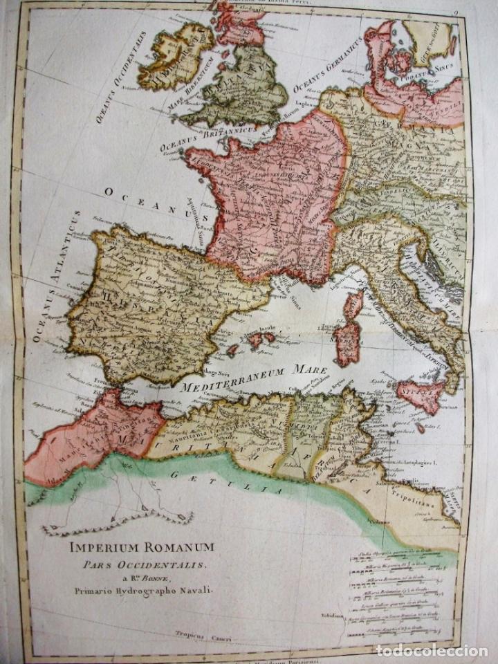 Arte: Mapa de la parte occidental del Imperio Romano, 1787. Bonne/Desmarest - Foto 2 - 213343958