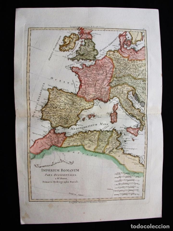 Arte: Mapa de la parte occidental del Imperio Romano, 1787. Bonne/Desmarest - Foto 4 - 213343958