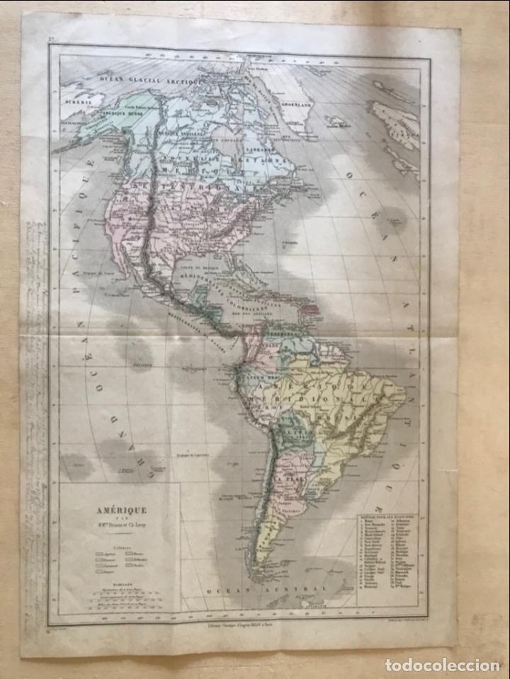 Arte: Mapa de América del norte, central y sur, 1873. Drioux/Leroy/Genotte/Brehier - Foto 2 - 213348231