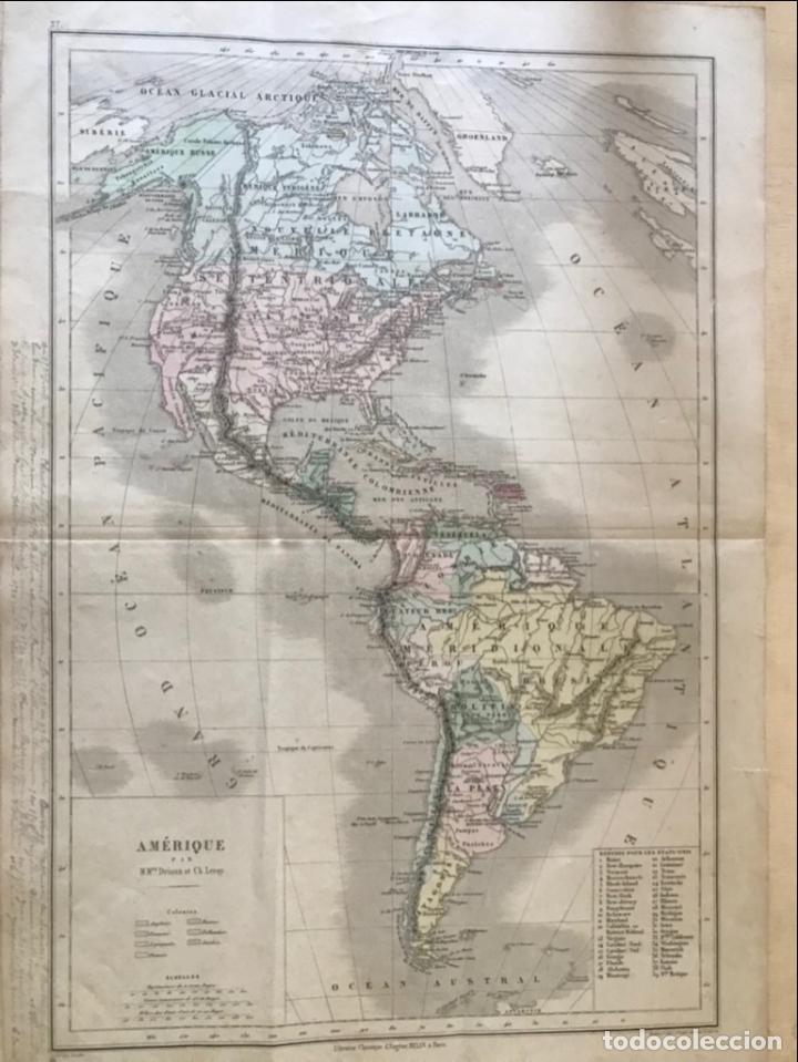 Arte: Mapa de América del norte, central y sur, 1873. Drioux/Leroy/Genotte/Brehier - Foto 3 - 213348231