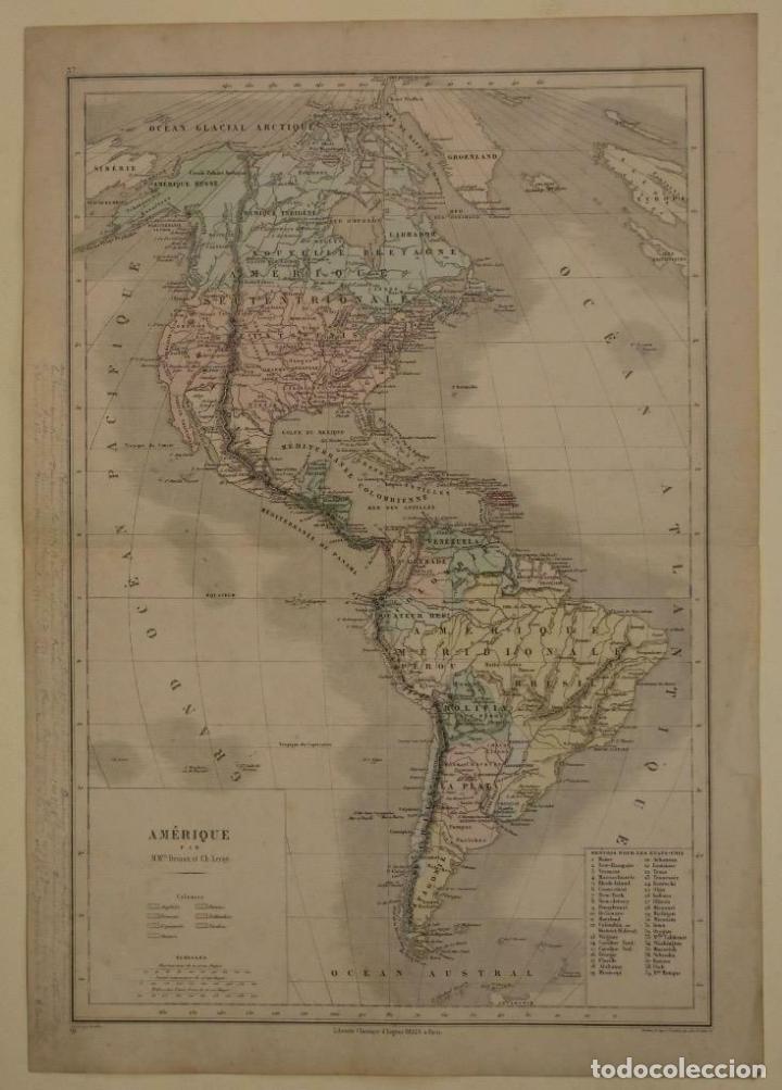 MAPA DE AMÉRICA DEL NORTE, CENTRAL Y SUR, 1873. DRIOUX/LEROY/GENOTTE/BREHIER (Arte - Cartografía Antigua (hasta S. XIX))