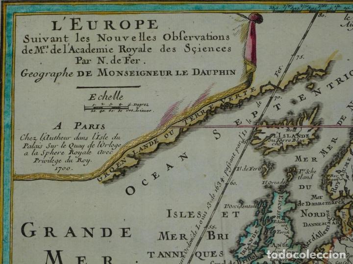 Arte: Mapa a color de Europa, 1700. Nicolás de Fer - Foto 2 - 213349170