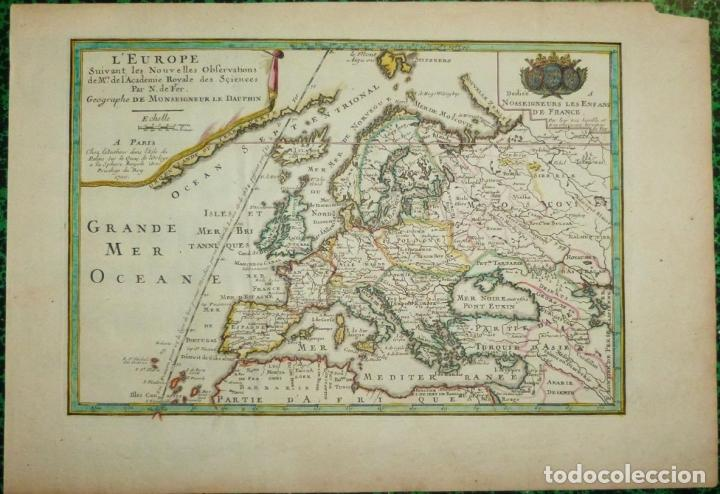 MAPA A COLOR DE EUROPA, 1700. NICOLÁS DE FER (Arte - Cartografía Antigua (hasta S. XIX))