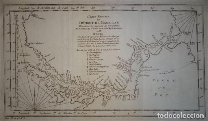 Arte: Mapa del estrecho de Magallanes (Argentina- Chile), hacia 1790. Bellin/Prevost - Foto 2 - 213358565