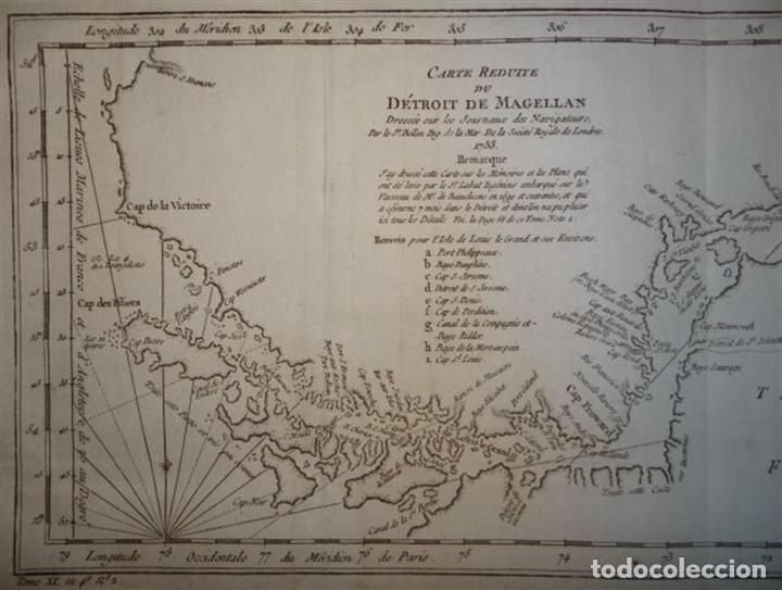 Arte: Mapa del estrecho de Magallanes (Argentina- Chile), hacia 1790. Bellin/Prevost - Foto 3 - 213358565