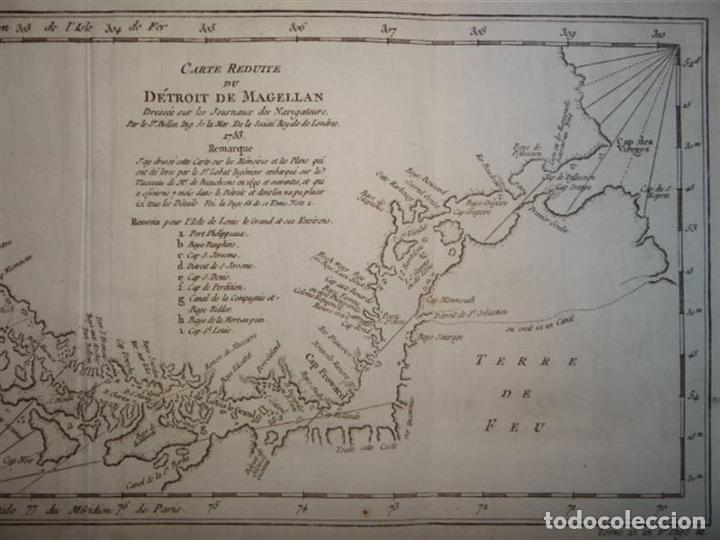 Arte: Mapa del estrecho de Magallanes (Argentina- Chile), hacia 1790. Bellin/Prevost - Foto 4 - 213358565