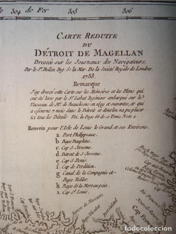 Arte: Mapa del estrecho de Magallanes (Argentina- Chile), hacia 1790. Bellin/Prevost - Foto 5 - 213358565