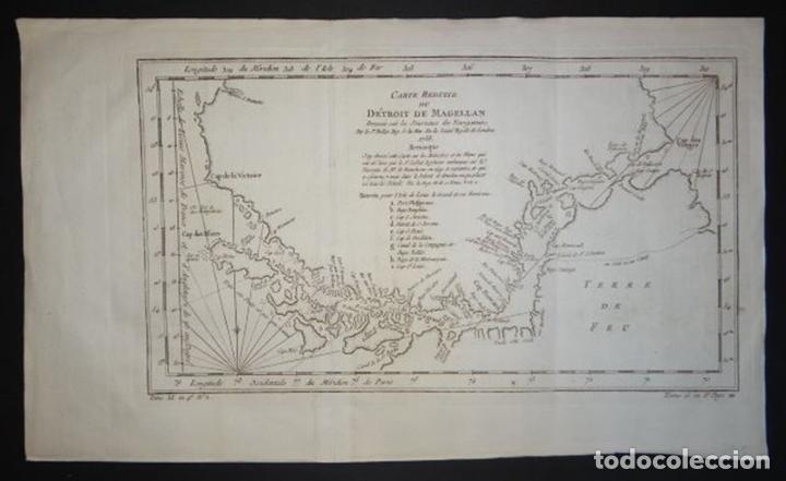 MAPA DEL ESTRECHO DE MAGALLANES (ARGENTINA- CHILE), HACIA 1790. BELLIN/PREVOST (Arte - Cartografía Antigua (hasta S. XIX))