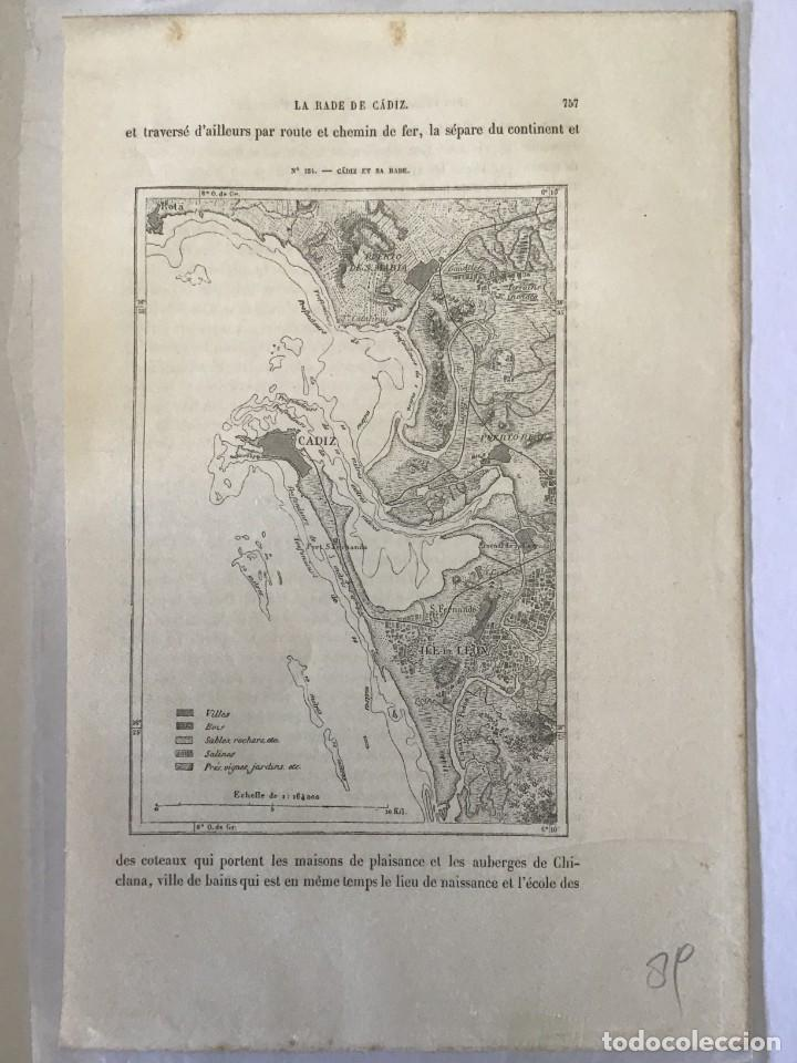 Arte: GRABADO ANTIGUO ORIGINAL. MAPA / PLANO CADIZ SAN FERNANDO (ESPAÑA). AÑO 1876 - Foto 2 - 213359068