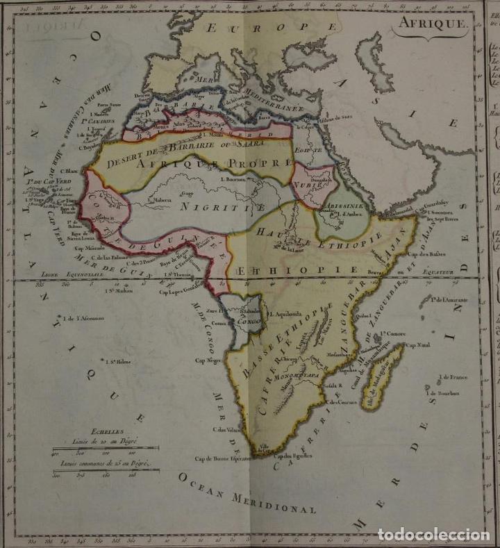 Arte: Mapa a color de África, 1786. Brion de La Tour/Desnos - Foto 2 - 213387167