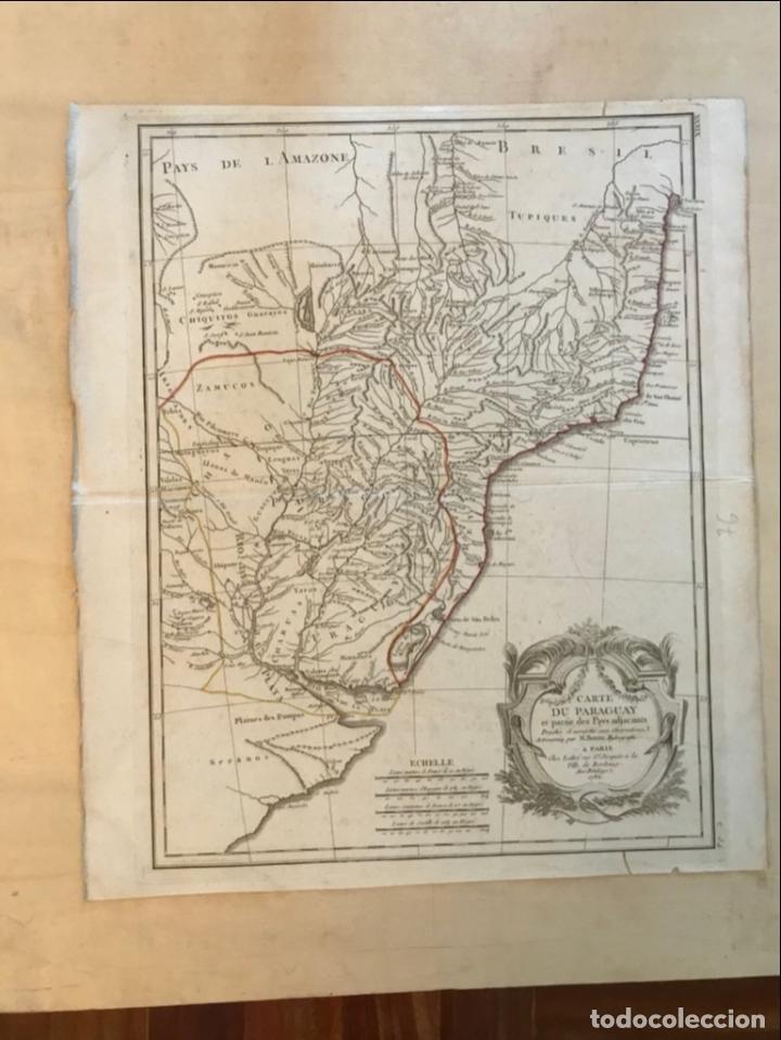 Arte: Gran mapa de sur de Brasil, Paraguay y Uruguay, 1782. Bonne/Lattre - Foto 2 - 213388942