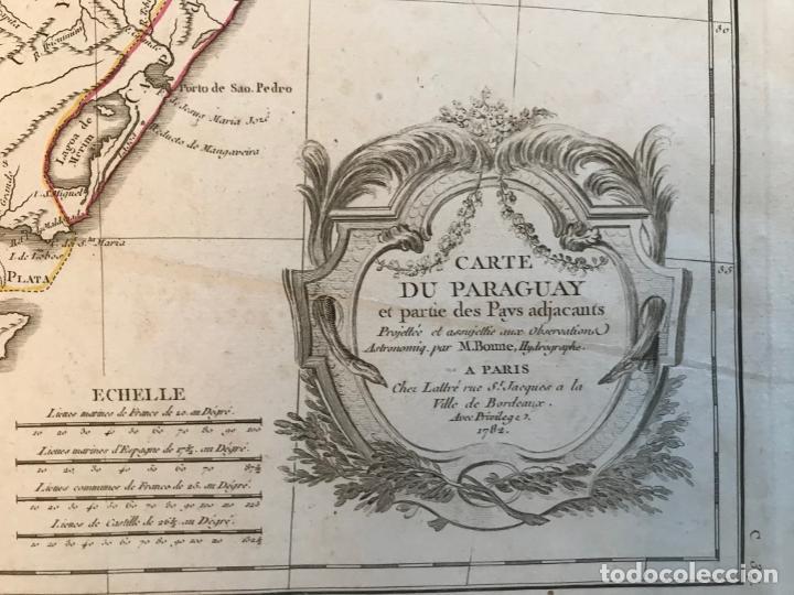 Arte: Gran mapa de sur de Brasil, Paraguay y Uruguay, 1782. Bonne/Lattre - Foto 9 - 213388942