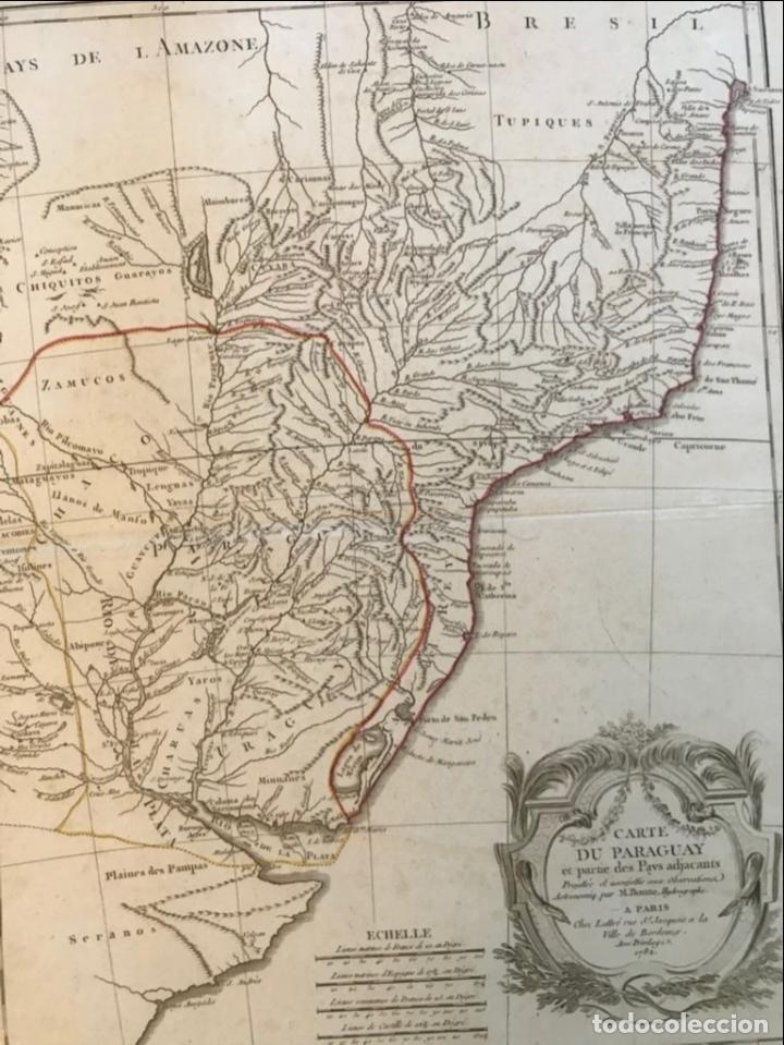Arte: Gran mapa de sur de Brasil, Paraguay y Uruguay, 1782. Bonne/Lattre - Foto 12 - 213388942