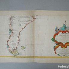 Arte: GRAN MAPA DEL SUR DE ARGENTINA Y CHILE (AMÉRICA DEL SUR), CA. 1748. ANVILLE/DELAHAYE. Lote 213532096