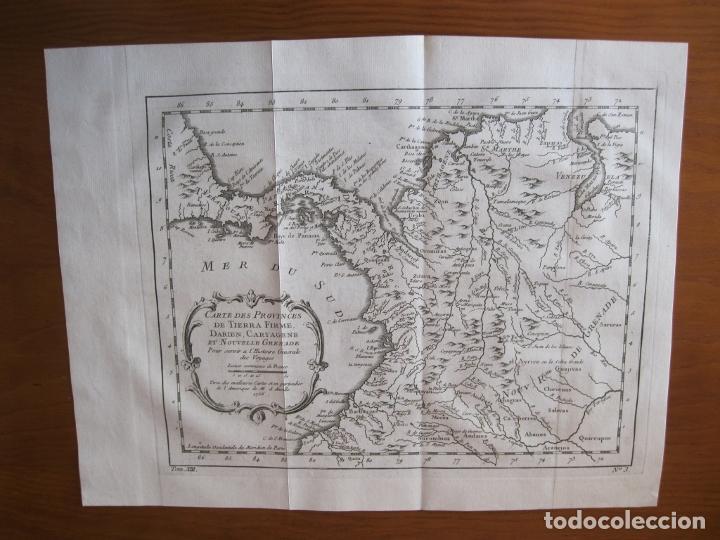 Arte: Mapa de Panamá, Colombia y Venezuela, 1756. Bellin / Anville/ Prevost/Didot - Foto 2 - 214007330