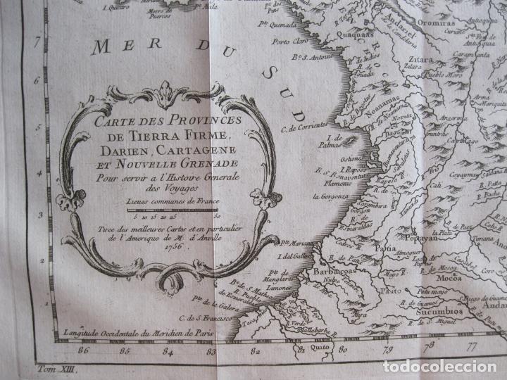 Arte: Mapa de Panamá, Colombia y Venezuela, 1756. Bellin / Anville/ Prevost/Didot - Foto 6 - 214007330