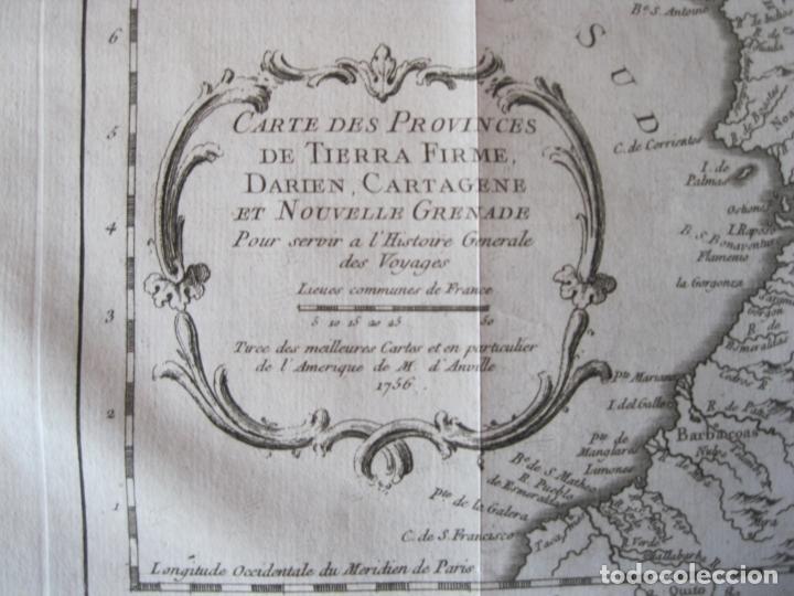 Arte: Mapa de Panamá, Colombia y Venezuela, 1756. Bellin / Anville/ Prevost/Didot - Foto 7 - 214007330