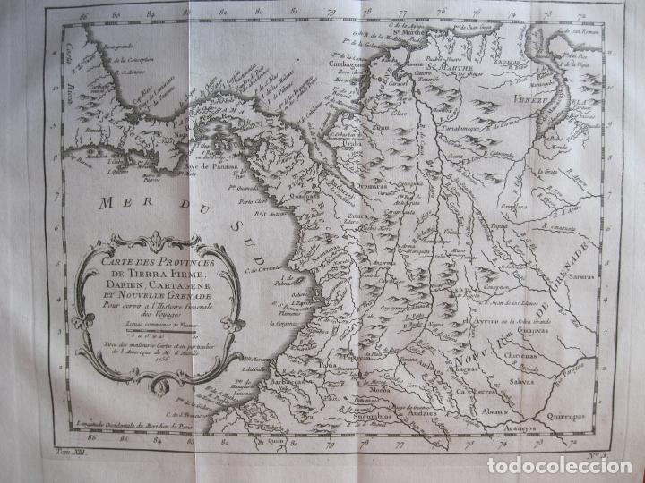MAPA DE PANAMÁ, COLOMBIA Y VENEZUELA, 1756. BELLIN / ANVILLE/ PREVOST/DIDOT (Arte - Cartografía Antigua (hasta S. XIX))