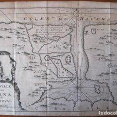 Arte: MAPA DE LA BAHÍA Y LA CIUDAD DE LA HABANA (CUBA, AMÉRICA), 1702. RENNEVILLE. Lote 214015855