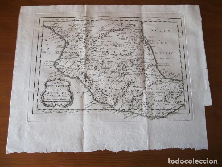 Arte: Mapa de México (Edición Italiana), 1785. Bellin/Prevost - Foto 2 - 214017458
