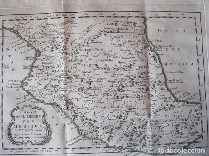 Arte: Mapa de México (Edición Italiana), 1785. Bellin/Prevost - Foto 3 - 214017458