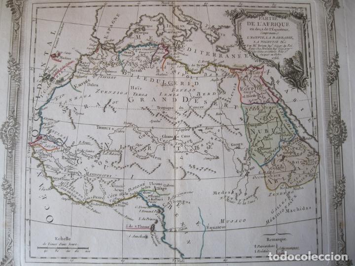 Arte: Mapa del norte y centro de África, 1766. Brion de la Tour /Desnos - Foto 3 - 214017981