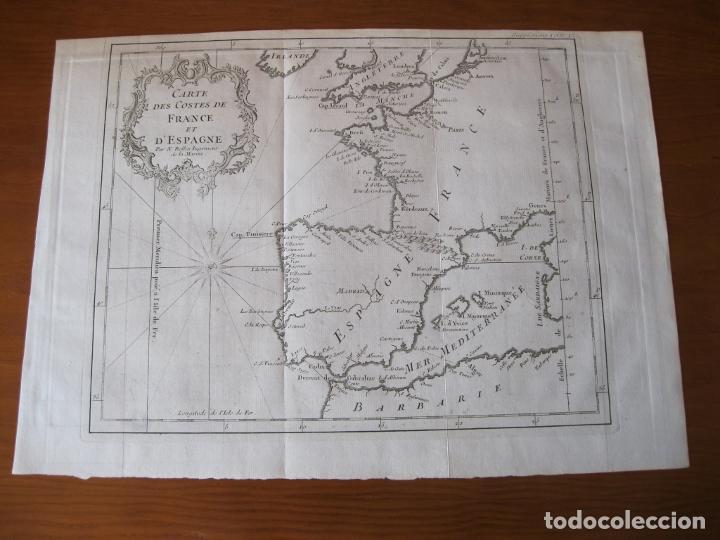 Arte: Mapa de la costa de Portugal, España y Francia, 1750. Bellin/Prevost - Foto 2 - 214172812