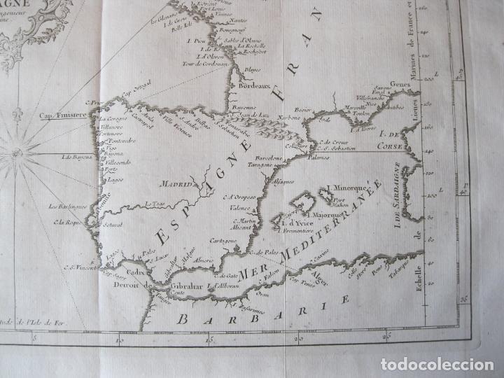 Arte: Mapa de la costa de Portugal, España y Francia, 1750. Bellin/Prevost - Foto 3 - 214172812