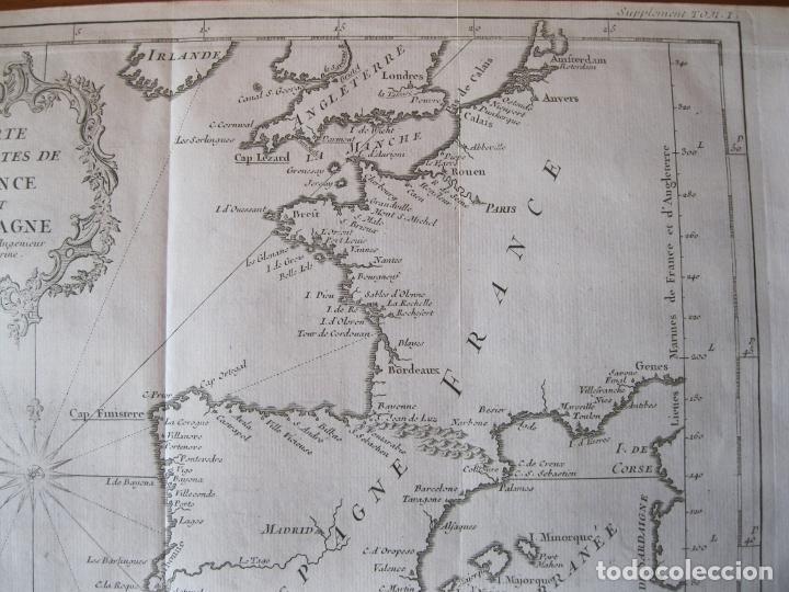 Arte: Mapa de la costa de Portugal, España y Francia, 1750. Bellin/Prevost - Foto 4 - 214172812