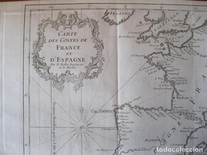 Arte: Mapa de la costa de Portugal, España y Francia, 1750. Bellin/Prevost - Foto 5 - 214172812