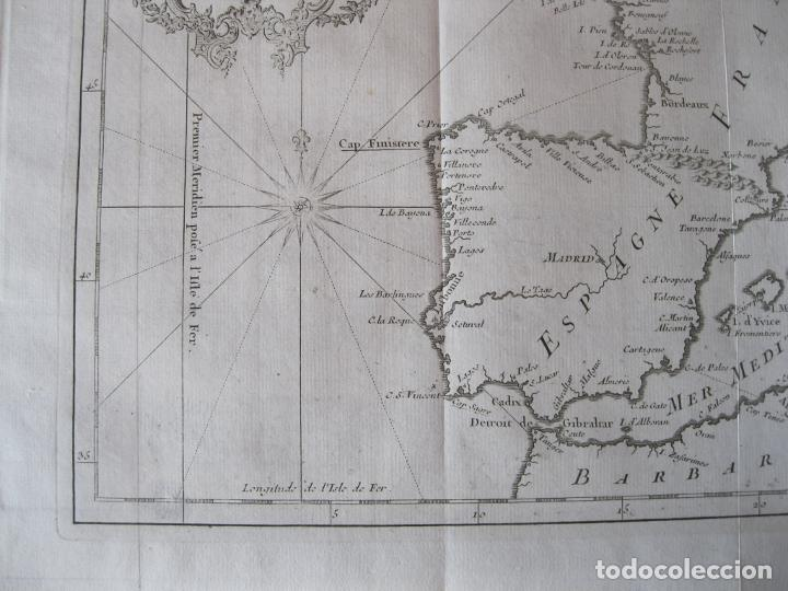 Arte: Mapa de la costa de Portugal, España y Francia, 1750. Bellin/Prevost - Foto 6 - 214172812