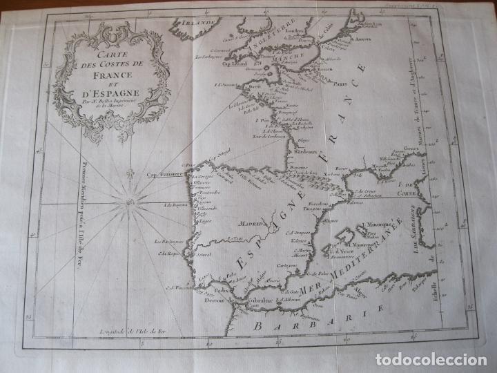 MAPA DE LA COSTA DE PORTUGAL, ESPAÑA Y FRANCIA, 1750. BELLIN/PREVOST (Arte - Cartografía Antigua (hasta S. XIX))