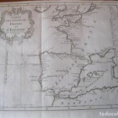 Arte: MAPA DE LA COSTA DE PORTUGAL, ESPAÑA Y FRANCIA, 1750. BELLIN/PREVOST. Lote 214172812