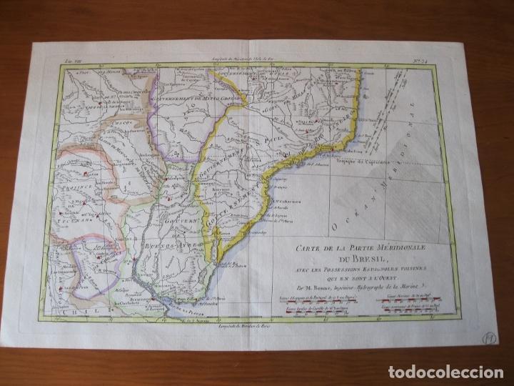Arte: Mapa a color del sur de Brasil, Paraguay, Uruguay..., 1781. Bonne - Foto 2 - 214173318