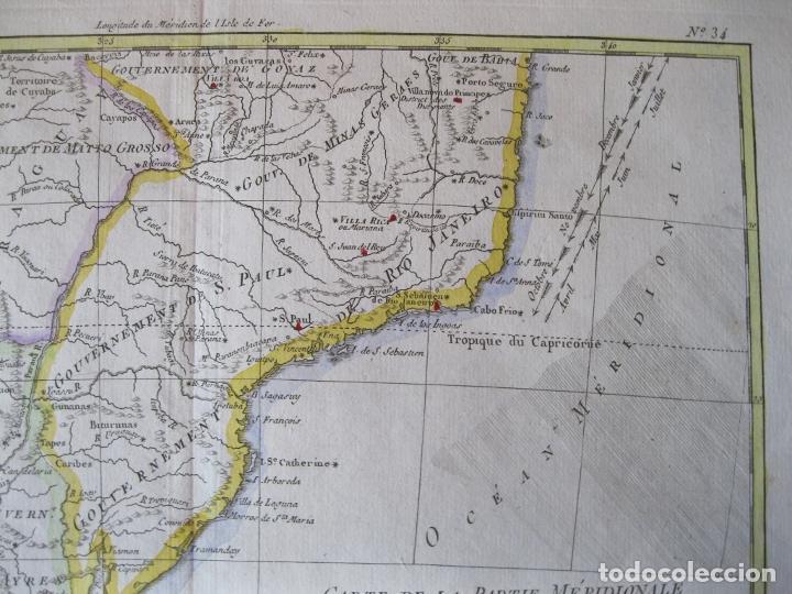 Arte: Mapa a color del sur de Brasil, Paraguay, Uruguay..., 1781. Bonne - Foto 4 - 214173318
