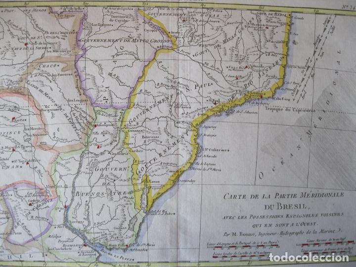 Arte: Mapa a color del sur de Brasil, Paraguay, Uruguay..., 1781. Bonne - Foto 7 - 214173318